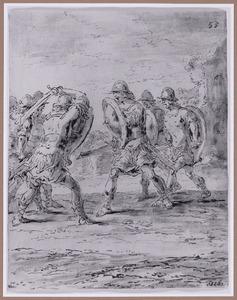 Twee groepen soldaten bestrijden elkaar (Suenos 1641, boek VII, zevende droom)