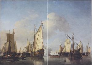 Een Statenjacht dat een saluutschot lost, met allerleir scheepvaart kalme zee