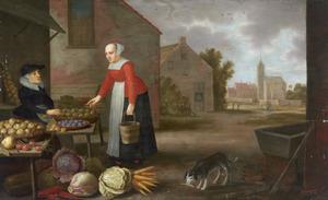 Dorpsgezicht met een groente- en fruitverkoopster met een klant