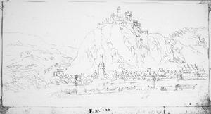 Rijnvallei met een stad, een kasteel op een heuvel