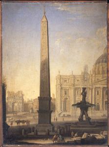 Gezicht op de obelisk en de foteint op het plein voor de St. Pieterskerk in Rome