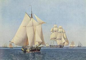 Verschillende schepen onder zeil in lichte wind op een heldere zomerdag
