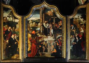 De H. Petrus met stichters (binnenzijde linkerluik), Ecce Homo (middenpaneel), de H. Maria Magdalena met stichtster (binnenzijde rechterluik)