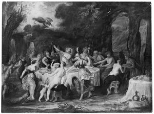 De drie godinnen trachten de gouden appel te bemachtigen tijdens het huwelijksfeest van Peleus en Thetis