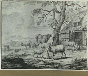 Rivierlandschap met vee bij een schuur