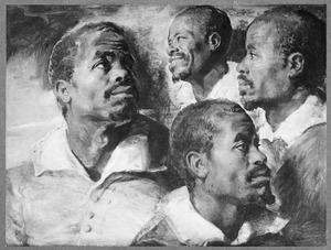 Vier studieportretten van een donkere man