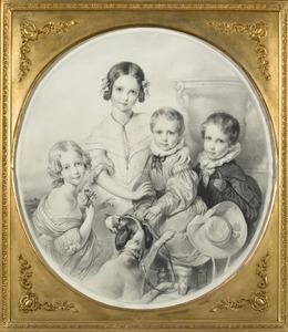 Familieportret van Cornelia Maria Steengracht (1831-1906), Antoinette Marie Charlotte Steengracht (1832-1852), Nicolaas Adriaan Steengracht van Moyland (1834-1906) en Hendricus Adolphus Steengracht (1836-1912)