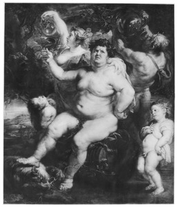 Bacchus drinkend met gevolg in een landschap