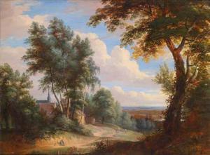 Heuvelachtig landschap met een rustende pelgrim buiten een dorp