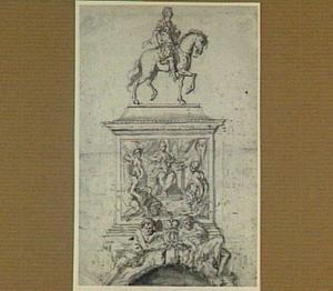 Ontwerp voor een admiraal te paard op een piedestal met de personificaties van onder andere de Overvloed, Mercurius en de stad Venetië, daaronder twee riviergoden die een gekroonde dubbele C flankeren