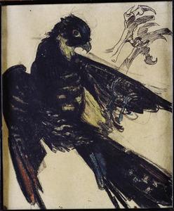 Schetsblad met zwarte roofvogel