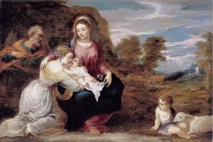 De H. Familie met de HH. Elisabeth en Johannes de Doper als kind in een landschap