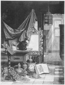 Atelier met poes en vogel in kooi