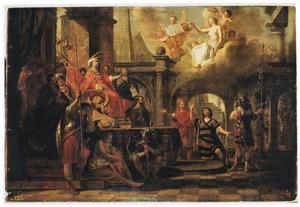 Sorobabel voor Darius: hij vraagt vergunning de tempel van Jerusalem te mogen herbouwen  (I Esdras 4; 15-41)