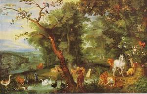 De hof van Eden; op de achtergrond de Verzoeking