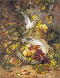 Perziken en druiven met een duif