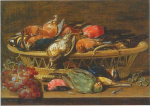 Stilleven met dode zangvogels en druiven