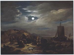 Nachtelijk strandgezicht met rustende vissers