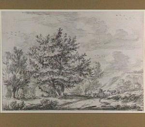 Heuvellandschap met bomen en veedrijver