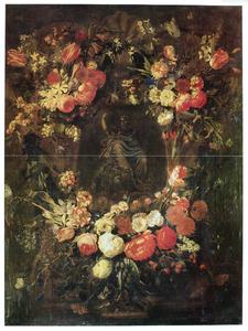 Bloemenkrans rond een medaillon met een figuur met een leeuw (later toegevoegd)