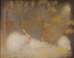 Witte konijnen in herfstbos
