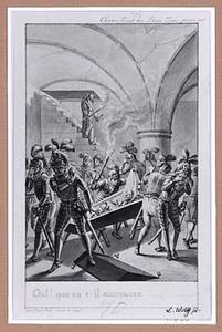 Toneelscène: ridders in een grafkelder ontdekken een lijk in een kist