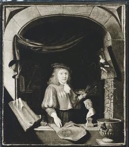 Portret van een schilder, waarschijnlijk zelfportret van Abraham Snaphaen (1651-1691)