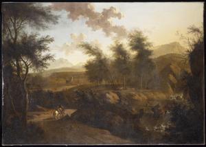 Zuidelijk berglandschap met ruiters op een weg langs een waterval