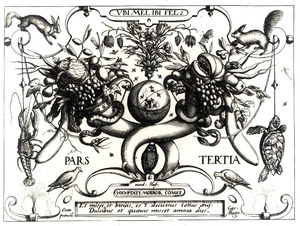 Cornucopia met wereldbol, bloemstilleven, uil en andere dieren