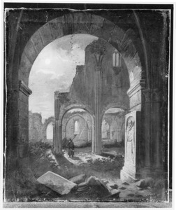 De ruïne van de Stiftskirche in Treysa in Oberhessen bij volle maan