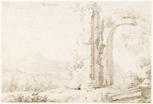 Klassieke ruïne in een heuvellandschap