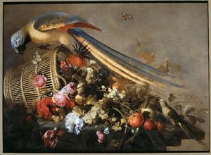 Stilleven van vruchten en tropische vogels, met bloemen en een sinaasappel