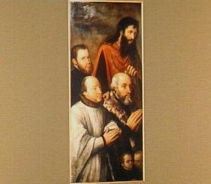 Groepsportret van Guido Morillon (?-1548), secretaris van Karel V, echtgenoot van Elisabeth de Mil (?-?), met zijn zoons, aartdiaken Maximiliaan (?-?) en Antoine Morillon (1522-1556) en de H. Guido van Anderlecht (?-1012)