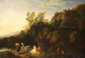 Zuidelijk landschap met badende vrouwen