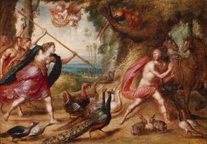 Orpheus wordt aangevallen door de Thracische vrouwen