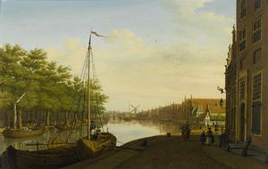 Gezicht op het Donkere Spaarne en de Houtmarkt vanaf het Korte Spaarne te Haarlem
