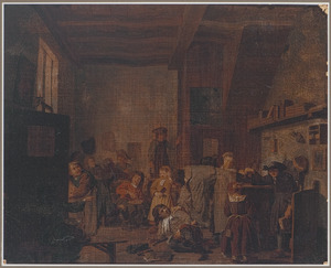 Interieur van een schoolklas met een meester die een kind vermaant