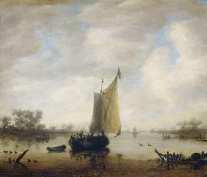 Riviergezicht met verschillende schepen; links op de achtergrond een boerderij