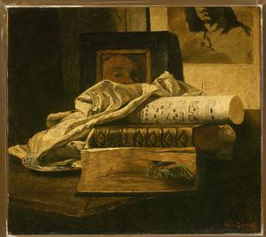 Stilleven met boeken en bladmuziek, op de achtergrond een zelfportret van Matthijs Maris