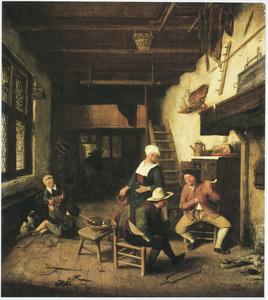 Boerenfamilie, verpozend in een interieur