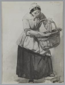 Studie van een staande vrouw met mand