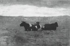 Landscape with three reclining cows