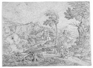 Berglandschap met drie figuren en vee in storm