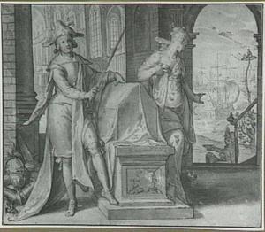 Allegorische voorstelling uit de serie 'De Onderwerping en Bevrijding der Nederlanden': de eed bij de lijkbaar