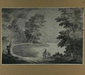 Oosterse figuren aan de oever van een meer