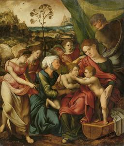 De Heilige Familie met Elisabeth en Johannes de Doper als kind met engelen met uitzicht op een berglandschap