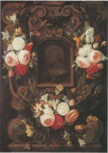 Cartouche met bloemguirlandes rondom de buste van een heilige, mogelijk het Christuskind