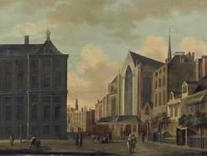 De Dam te Amsterdam met het Paleis op de Dam en de Nieuwe Kerk