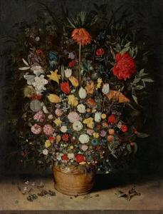 Stilleven met bloemen in een kuip