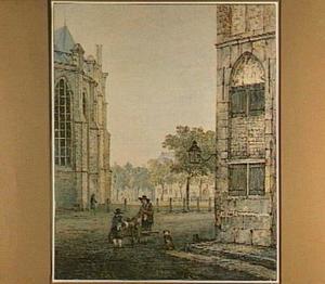 Het Grotekerksplein in Dordrecht gezien vanuit de woning van Jacob van Strij op de hoek van de Pelserbrug